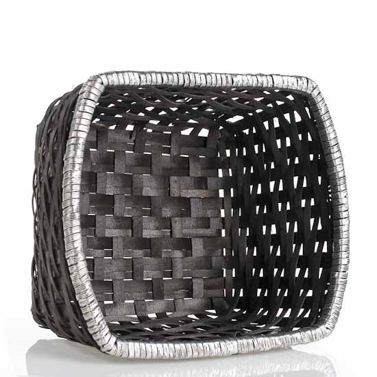 Black Woven Basket With Ribbon Baskets Buckets Amp Boxes