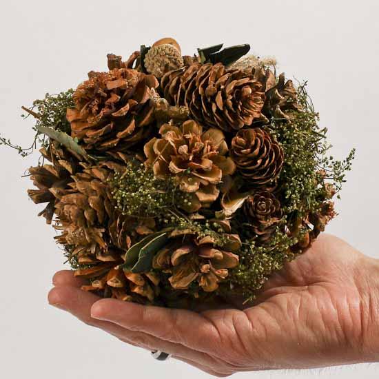 Natural Pinecone Kissing Ball With Greenery Holiday