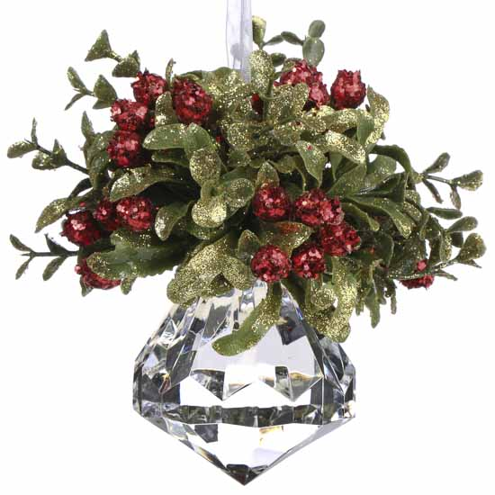 Christmas Mistletoe Hanging Acrylic Faceted Kissing Ball ...