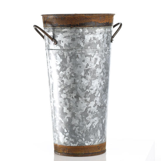Galvanized and rusty tin french flower bucket floral for Large galvanized buckets for flowers