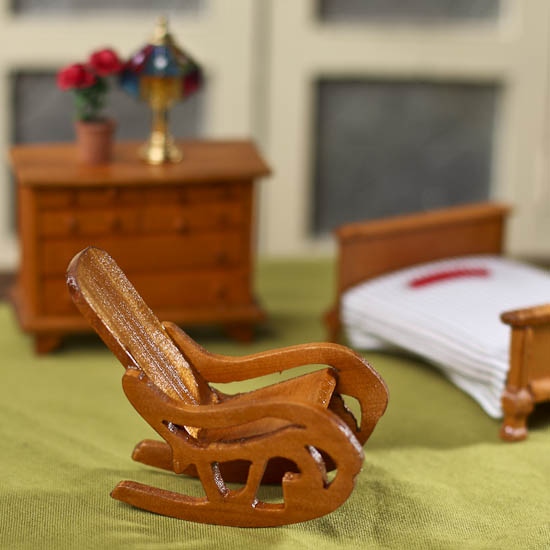 Dollhouse miniature wood rocking chair what 39 s new for Small wooden rocking chair for crafts