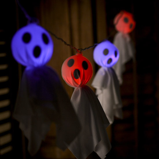 Battery-Operated Ghost Bulb and Clear Cord String Lights - Fall and Halloween Sale - Sales