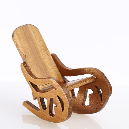 Dollhouse miniature wood rocking chair christmas for Small wooden rocking chair for crafts