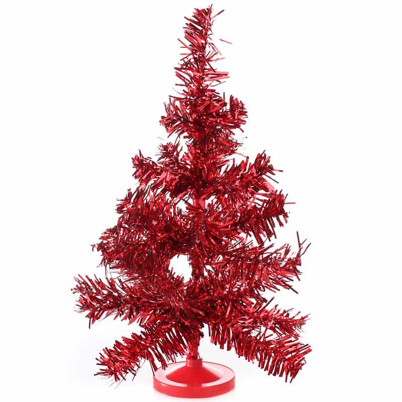 "Tinsel Christmas Tree: 10"" Retro Red Tinsel Christmas Tree"