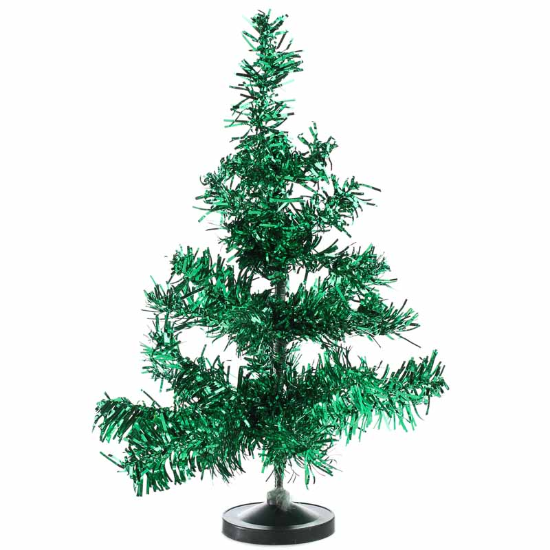 Tinsel Christmas Tree.Retro Green Tinsel Christmas Tree