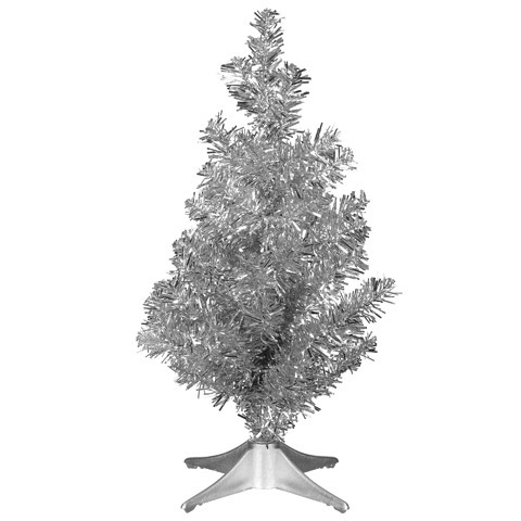 click here for a larger view - Silver Tinsel Christmas Tree