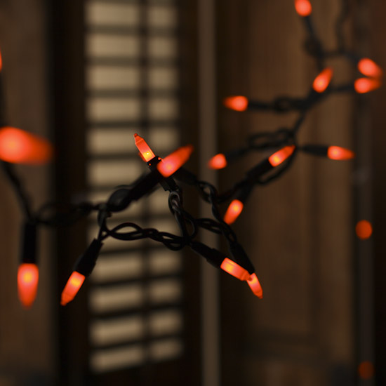 Orange Bulb and Black Cord String Lights - Fall and Halloween Sale - Sales