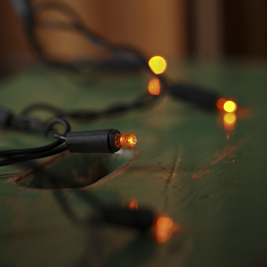 Led String Lights Orange : Orange Bulb and Black Cord LED String Lights - Lighting and Candles - Fall and Halloween ...