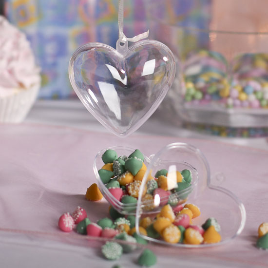 Clear Acrylic Fillable Heart Ornaments