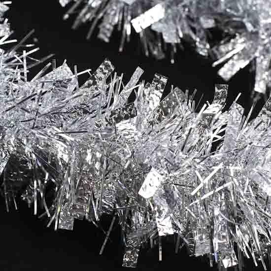 Silver tinsel garland feet christmas garlands