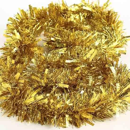 Gold tinsel garland feet sports and cheerleading