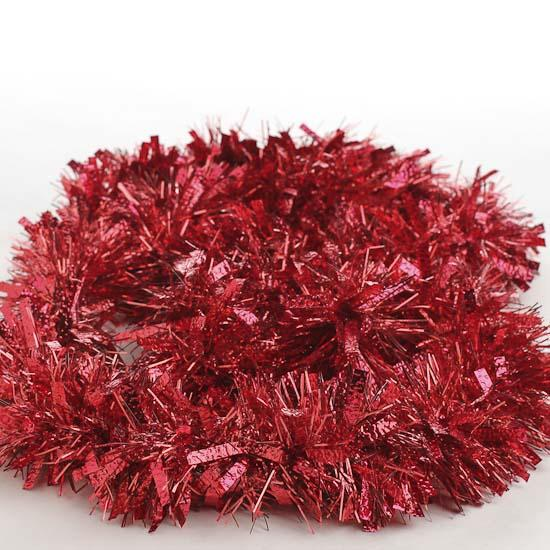 Red tinsel garland feet