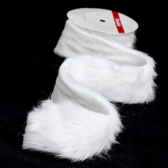 White fuzzy fake craft fur trim doll making supplies for Furry craft