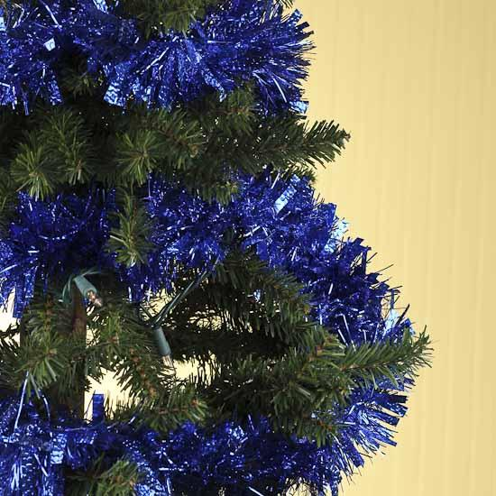 Royal blue tinsel garland feet christmas garlands