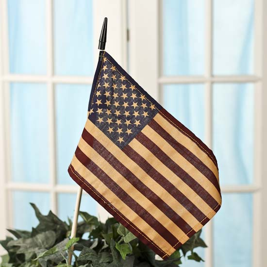 Primitive tea stained american flag americana decor American home decor catalog