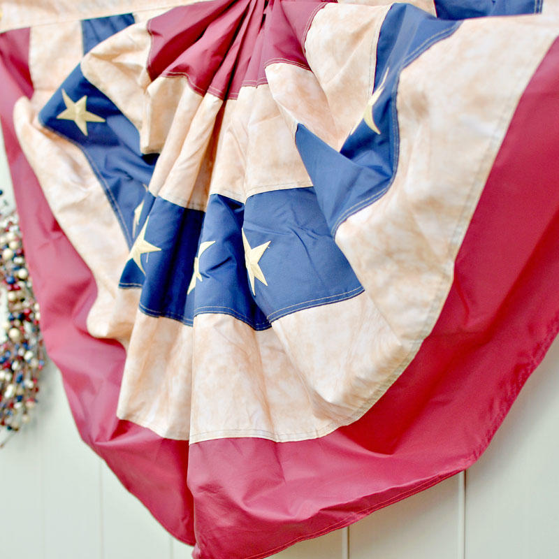 Antiqued american flag bunting americana decor home decor for American flag decoration ideas