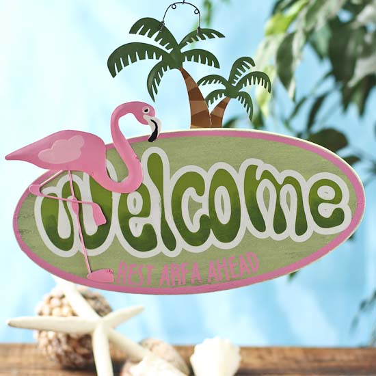 Quot Welcome Quot Flamingo Sign Luau And Beach Theme Party