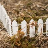 Miniature White Wood Picket Fence