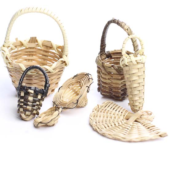Bamboo Basket Making Supplies : Miniature bamboo baskets and accessories fairy garden