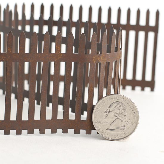 Miniature Rustic Tin Picket Fence