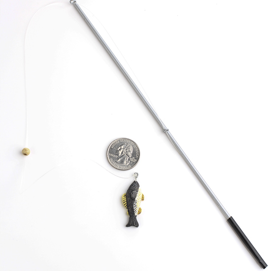 9 1 2 miniature fishing pole with mini fish doll for Miniature fishing pole