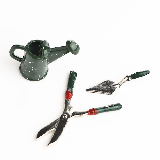 Miniature garden tools and watering can fairy garden for Gardening tools watering