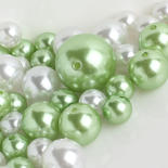 Assorted Apple Green and White Faux Pearls