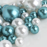 Assorted Turquoise and White Faux Pearls