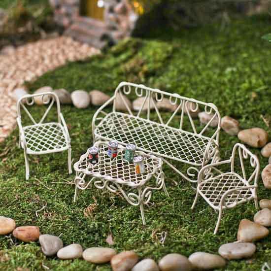 miniature cream iron patio set fairy garden miniatures dollhouse miniatures doll making. Black Bedroom Furniture Sets. Home Design Ideas