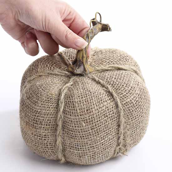 Rustic burlap and jute pumpkin fall and halloween for Burlap crafts