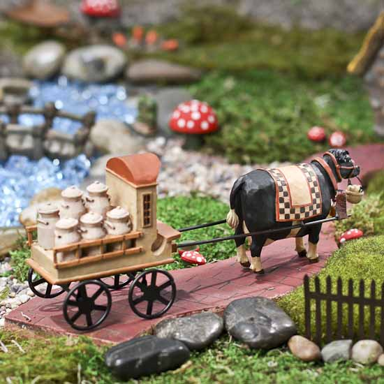 Miniature Resin Cow with Milk Cart Figurine