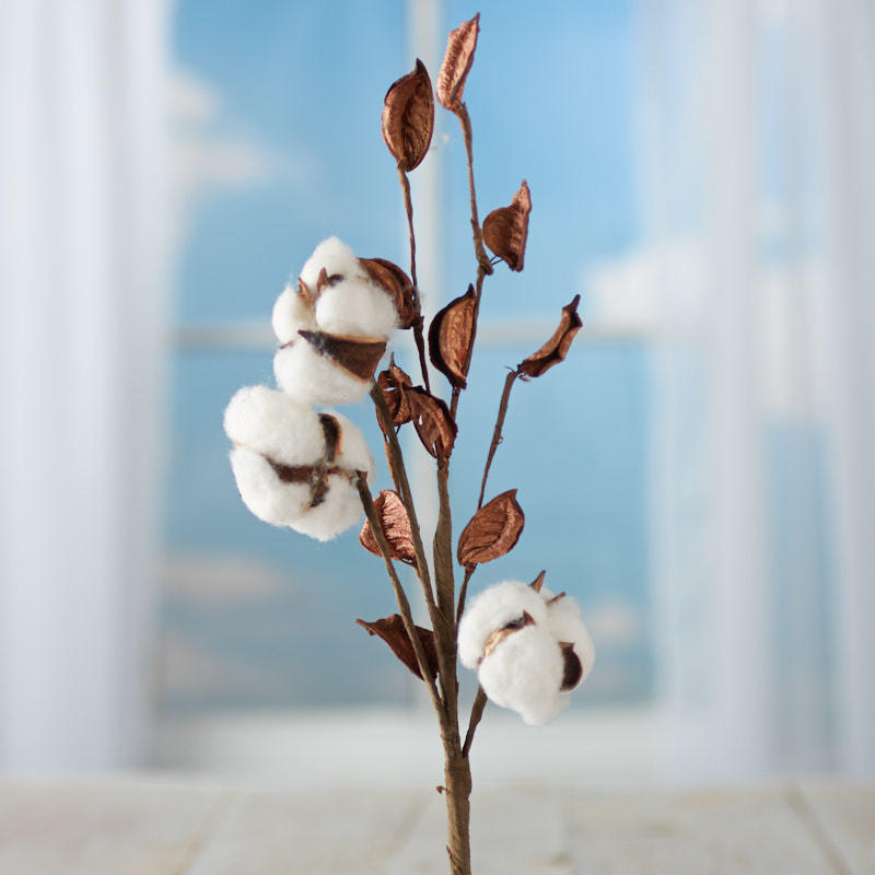 Artificial Cotton Plant Spray Picks And Stems Floral