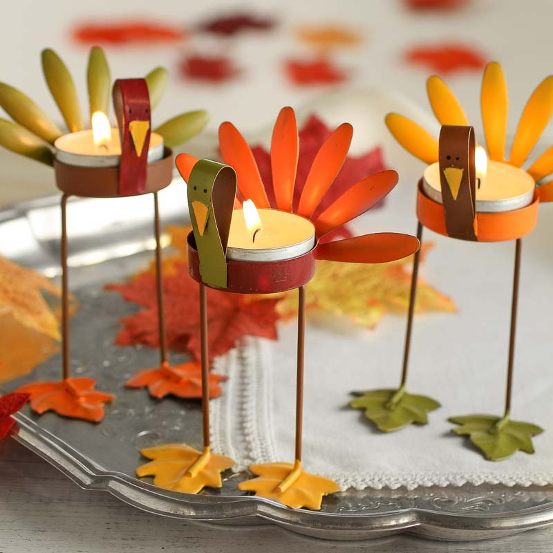 Assorted Turkey Tea Light Candle Holders Table Decor