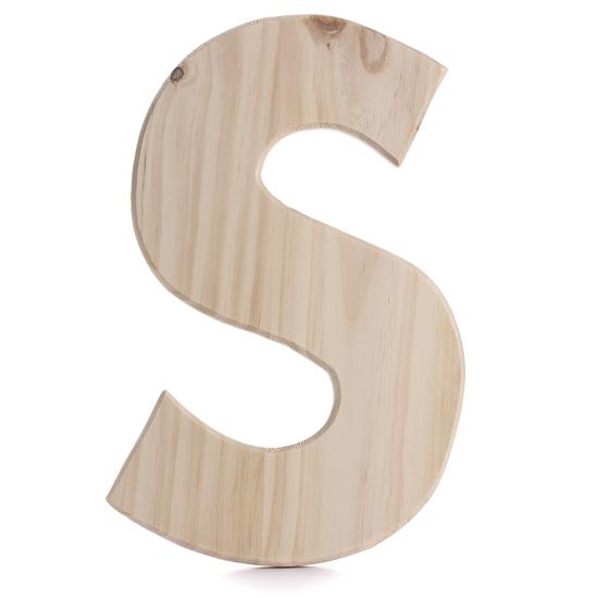 unpainted wooden letters