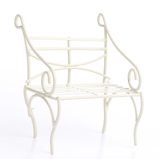 Outstanding Miniature Antique White Wire Garden Bench Pabps2019 Chair Design Images Pabps2019Com