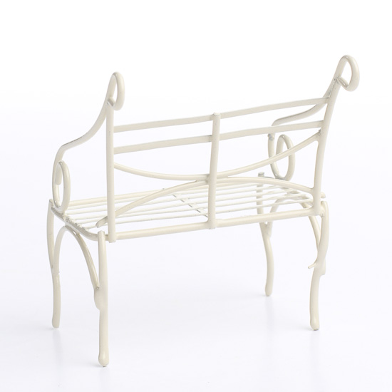 Magnificent Miniature Antique White Wire Garden Bench Pabps2019 Chair Design Images Pabps2019Com