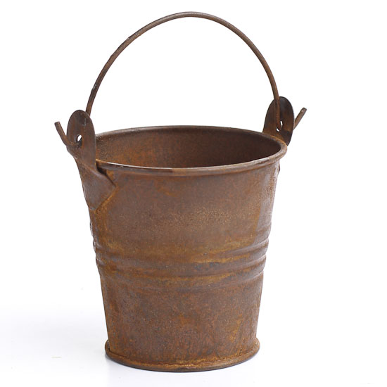 Small primitive rusty tin pail pails tubs and buckets for Tiny metal buckets