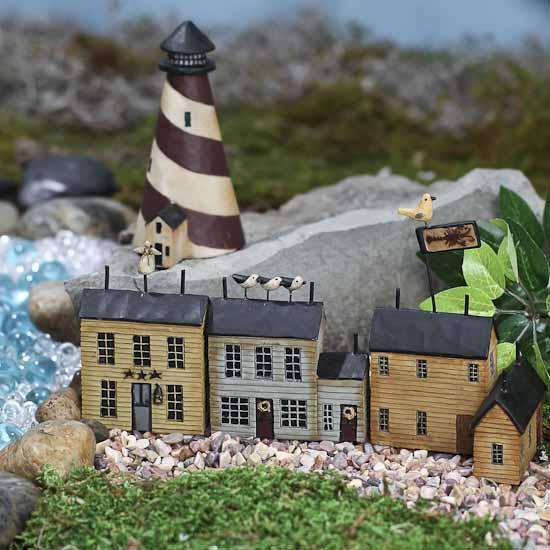 Gnome Garden: Miniature Salt Box Lighthouse Village