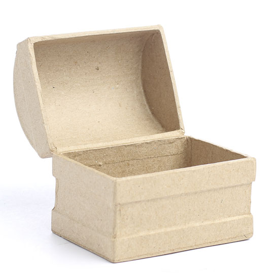 Paper mache treasure chest keepsake box ringbearer for Craft paper mache boxes