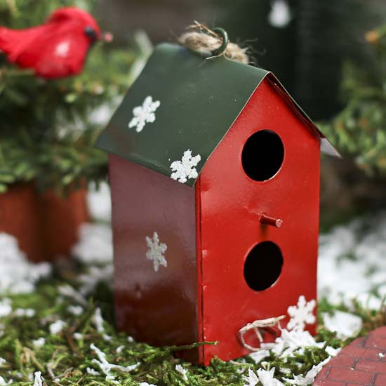 Square Red Tin Birdhouse Ornament Christmas Ornaments