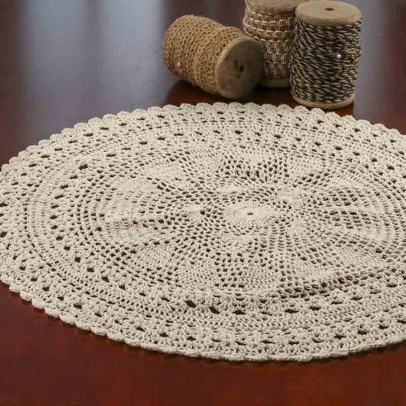 ecru round crocheted doily crochet and lace doilies home decor. Black Bedroom Furniture Sets. Home Design Ideas