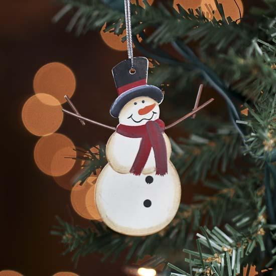 Small rustic metal snowman ornament primitive decor for Small snowman