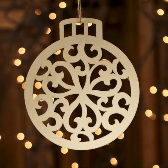 Unfinished Wood Laser Cut Christmas Ornament Wood