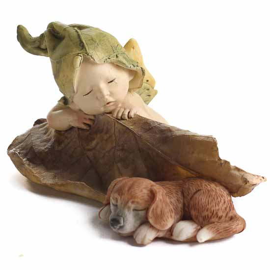 Miniature Sleeping Fairy Baby With Puppy Figurine What S