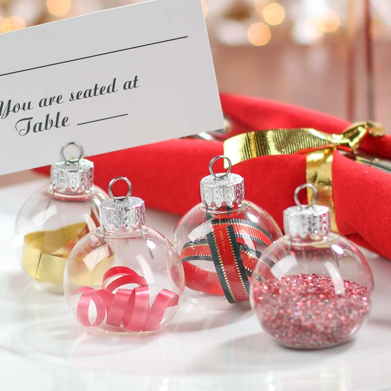 Glass Ornament Placecard Holders