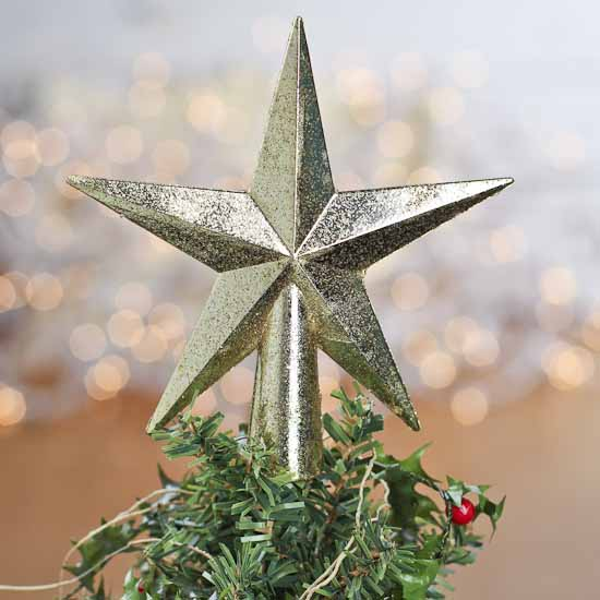 Small Gold Glittered Star Tree Topper - Christmas Trees and ...