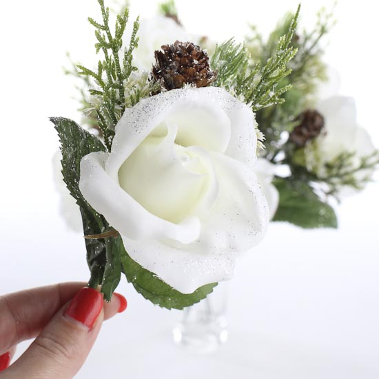 white artificial winter rose stems wedding florals. Black Bedroom Furniture Sets. Home Design Ideas