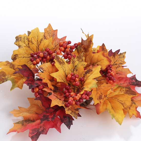 Fall Leaves And Berries Candle Ring Candles And