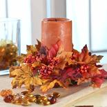 Fall Leaves and Berries Candle Ring