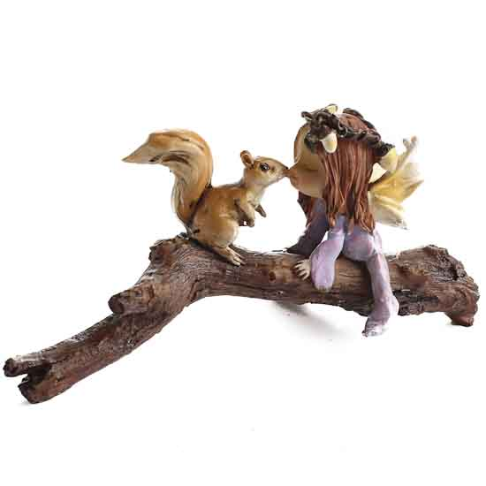 Miniature Kissing Fairy And Squirrel Table And Shelf